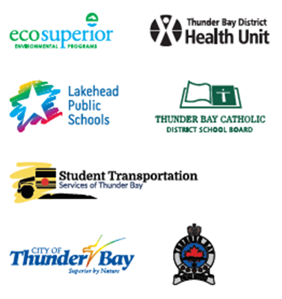 EcoSuperior, TBDHU, Lakehead Public Schools, TBCDSB, Student Transportation Services of Thunder Bay, City of TBay, Thunder Bay Police
